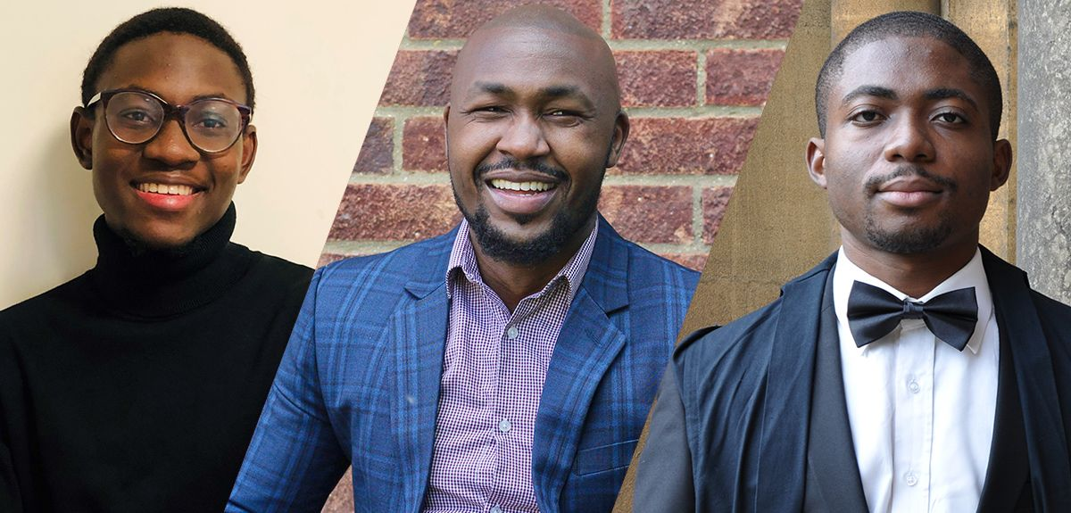 Image of Oluwasegun (Segun) Afolaranmi, Elisha Ngetich, Nwangele Godwin (Emeka) Chukwuemeka who have taken the top three places in 2021's Top 10 Rare Rising Stars