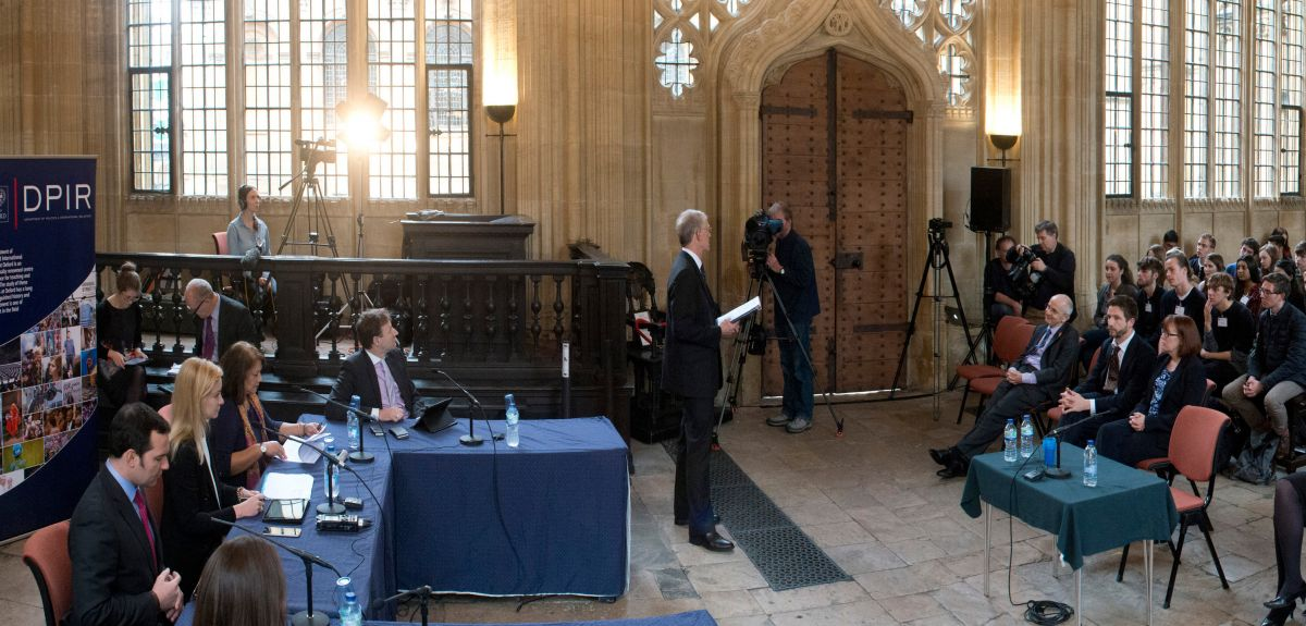Nicola Blackwood chairs Parliamentary Select Committee on Science and Technology at Oxford University's Divinity School, with an audience of Oxfordshire sixth-formers.