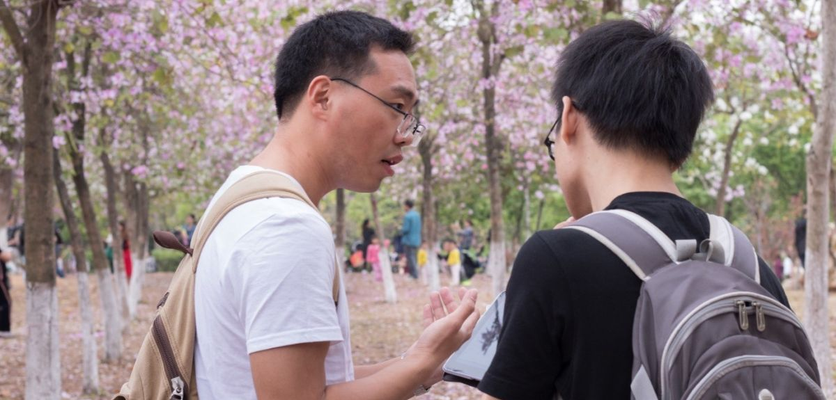 A research assistant carrying out a UCT survey in China