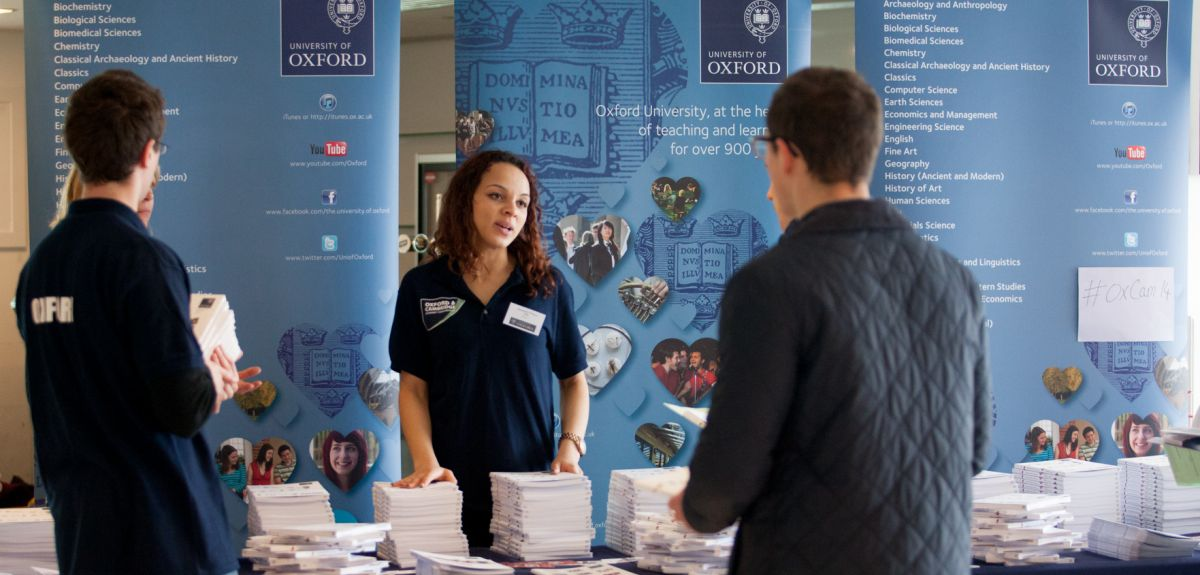 An Oxford undergraduate answers questions from prospective students at the Epsom Downs conference.