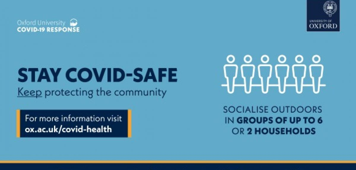 Stay COVID-safe banner. Credits: University of Oxford
