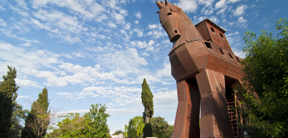 A wooden horse at Truva (Troy) in northwest Anatolia, in what is now Turkey