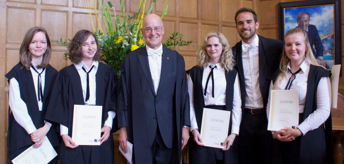 Five students received this year's Vice Chancellor's Social Impact Awards. Photo credit: Graham Read, Oxford Hub