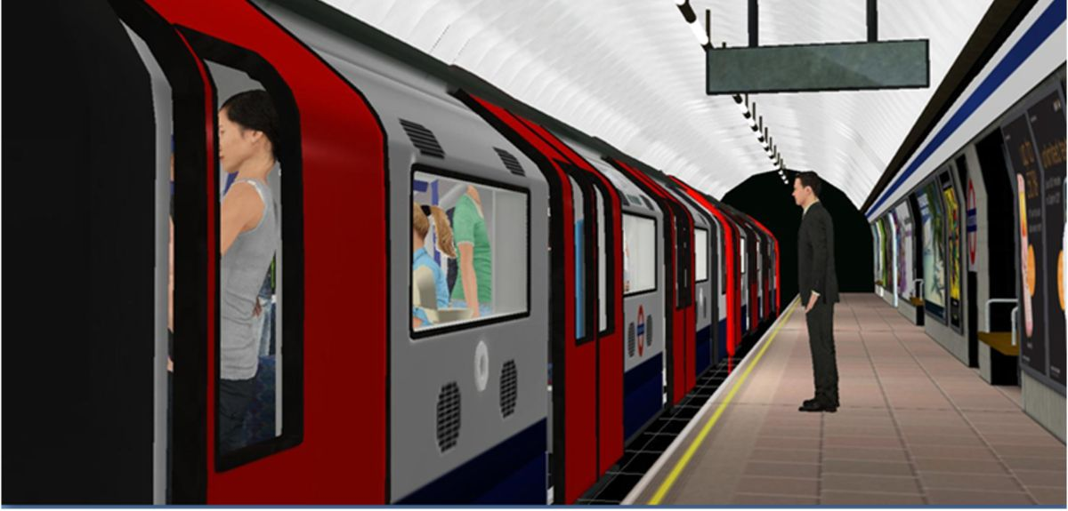 Virtual reality depiction of a tube station