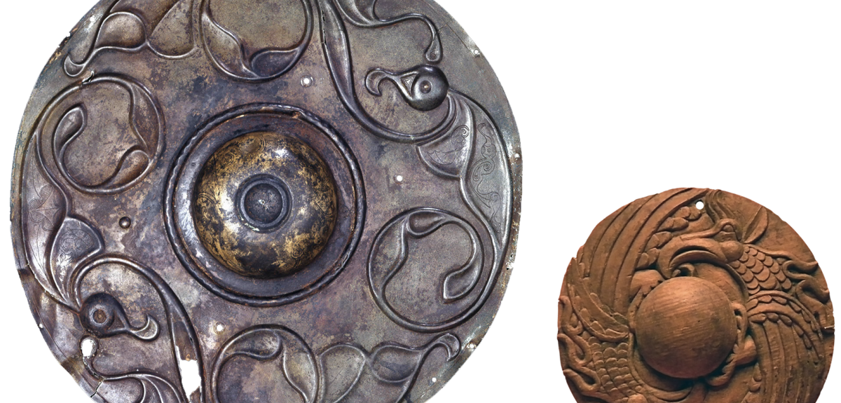 The Wandsworth Shield recovered from the Thames (British Museum) and a wooden roundel from Tuetka I, Altai Republic, Russian Federation (State Hermitage Museum, St Petersburg) date from Iron Age.