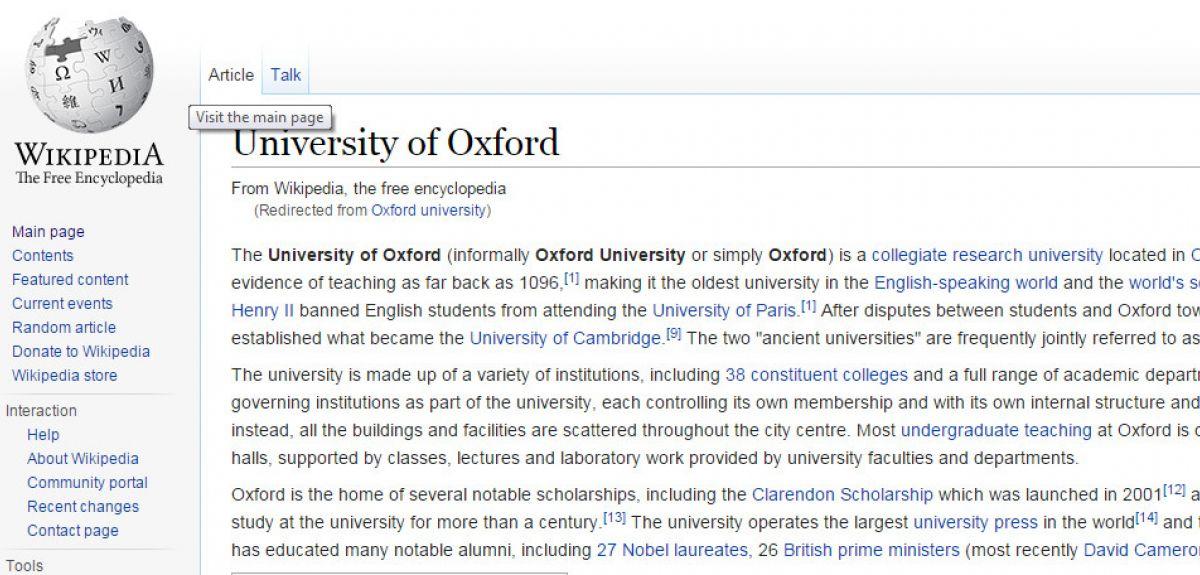 Wikipedia page about Oxford University