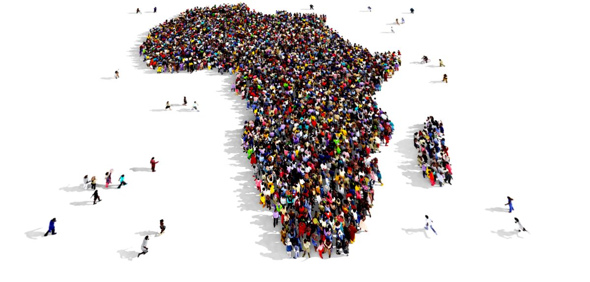 People gathered together in the shape of Africa