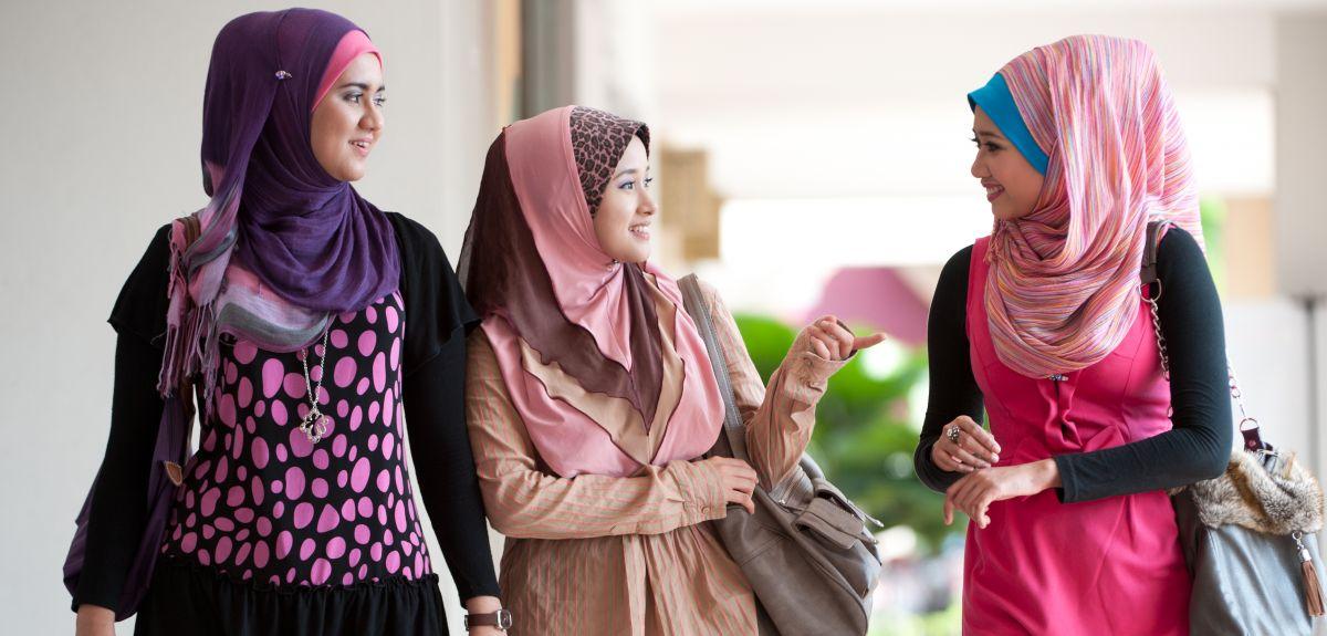 Muslim women in headscarves