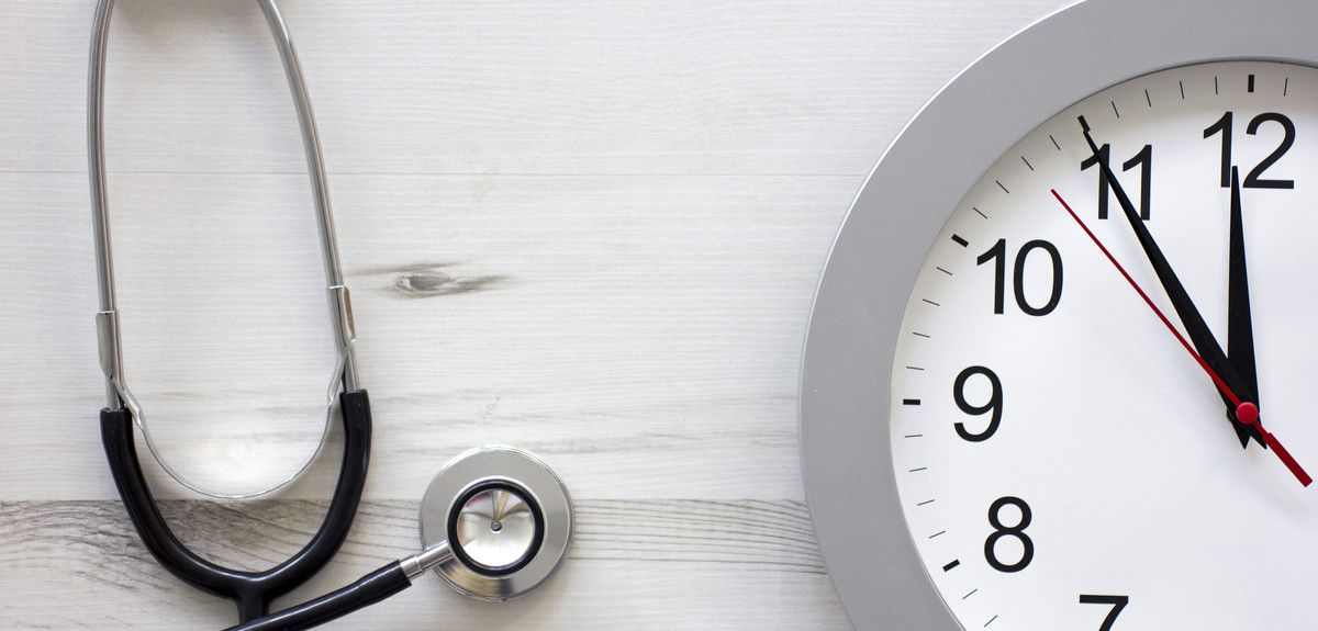 Clock and stethoscope