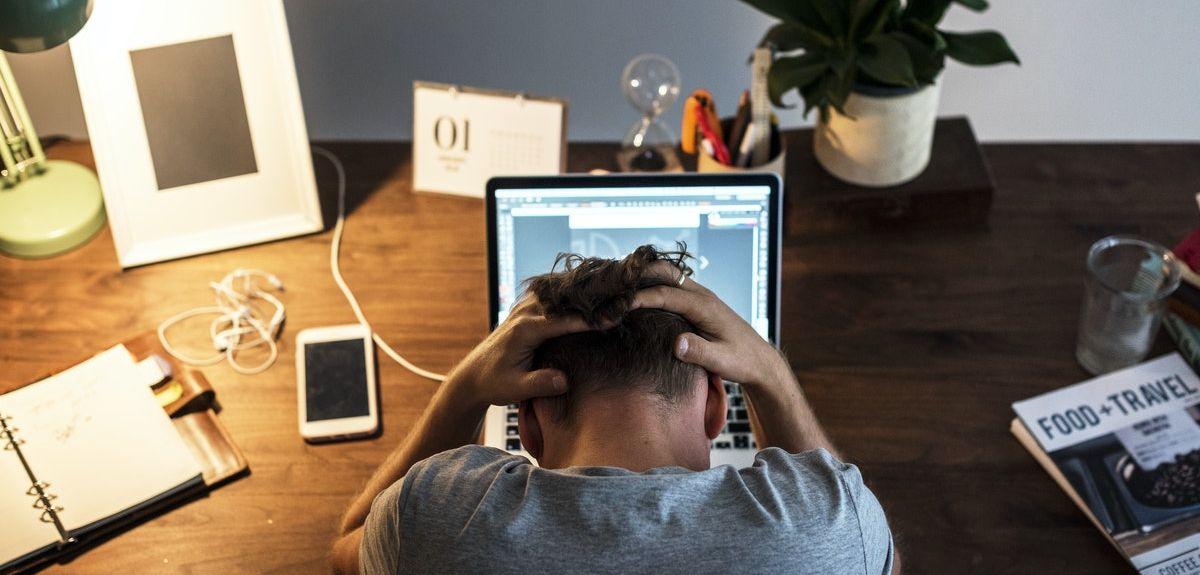 stressed student at desk