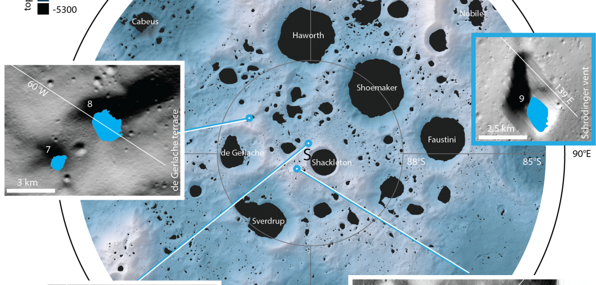 An as-yet unnamed crater (region 1 in figure 1) in the south polar region of the Moon.