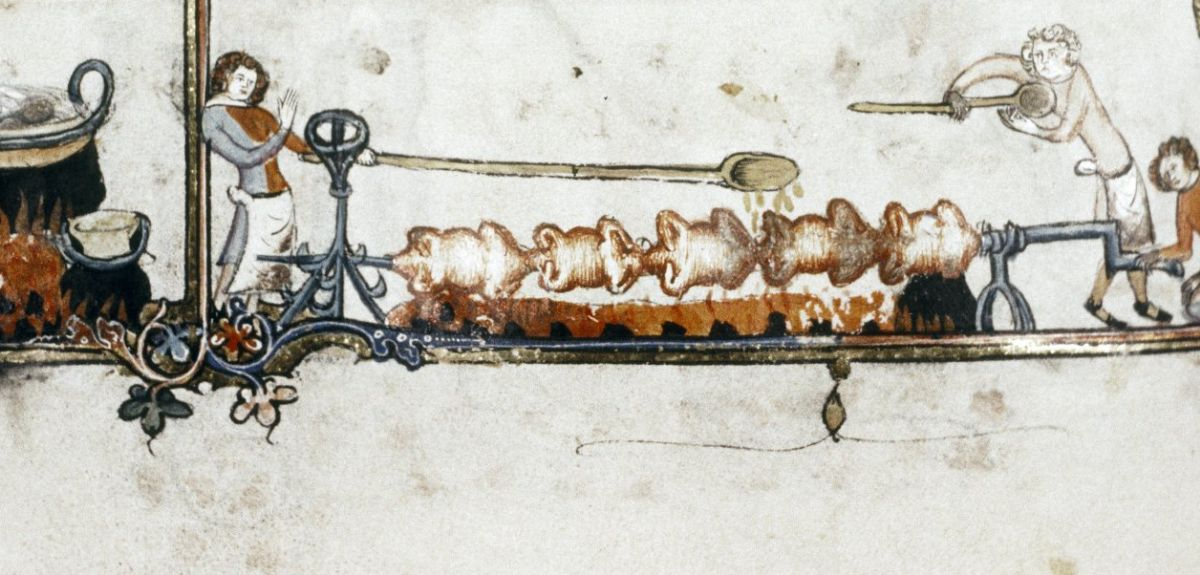 Illustration from Romance of Alexander, a sumptuous book of the Middle Ages, shows chickens roasting on a spit.
