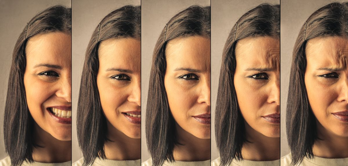 A woman's face showing different moods