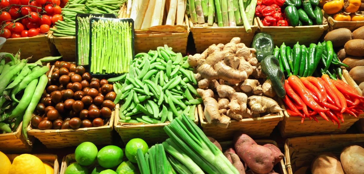 Organic vegetables displayed for sale.