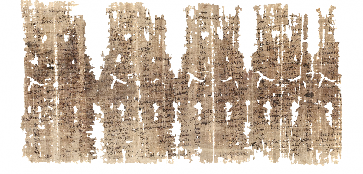 Detail of the recto of Papyrus Berlin P. 8043, temple account in list form