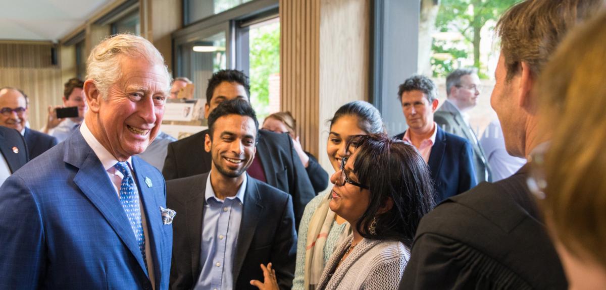 Prince Charles meets students at Kellogg College. Credit: David Fisher