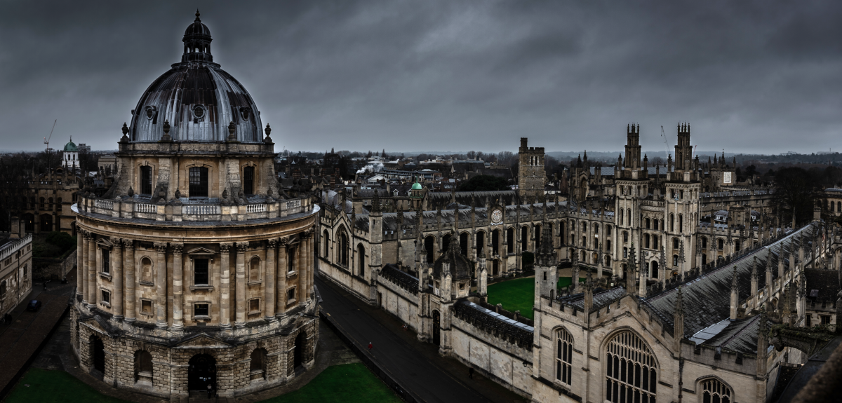 The Radcliffe Camera and All Souls College, viewed from the University Church of St Mary the Virgin.