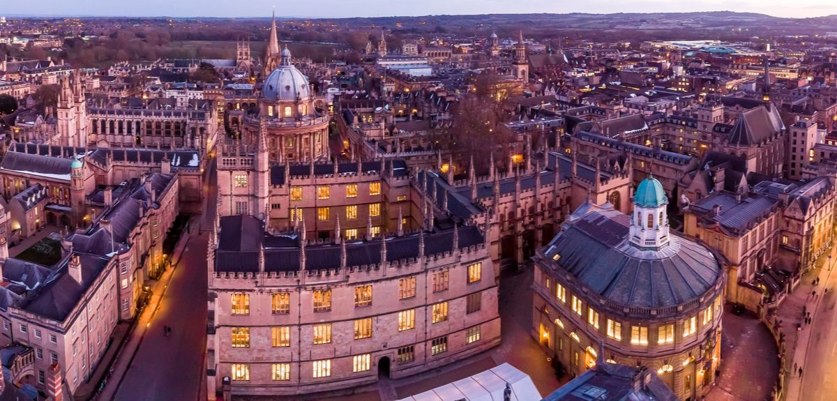 View of Oxford buildings from above.