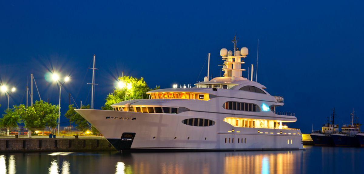 Luxury yacht in a marina.