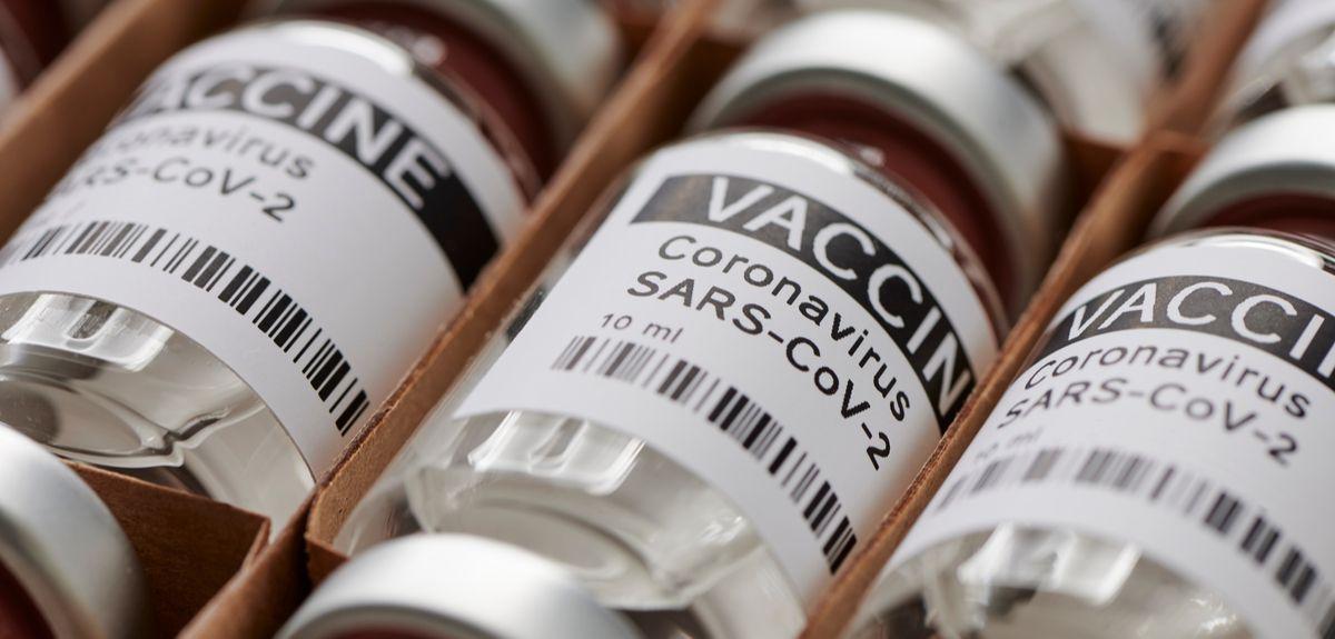 Photo | Dummy vaccine vials in a rack