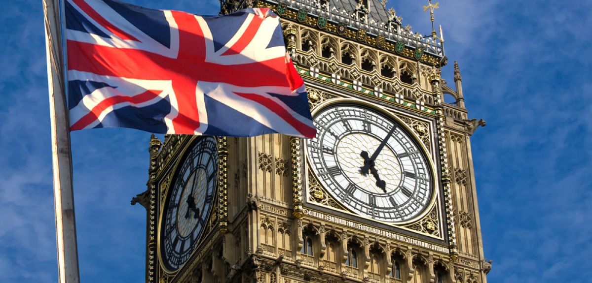 Union Jack in front of Big Ben in London.
