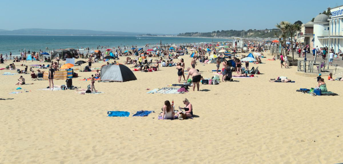 Bournemouth beach in May 2020, when UK movement was 68% below pre-lockdown levels