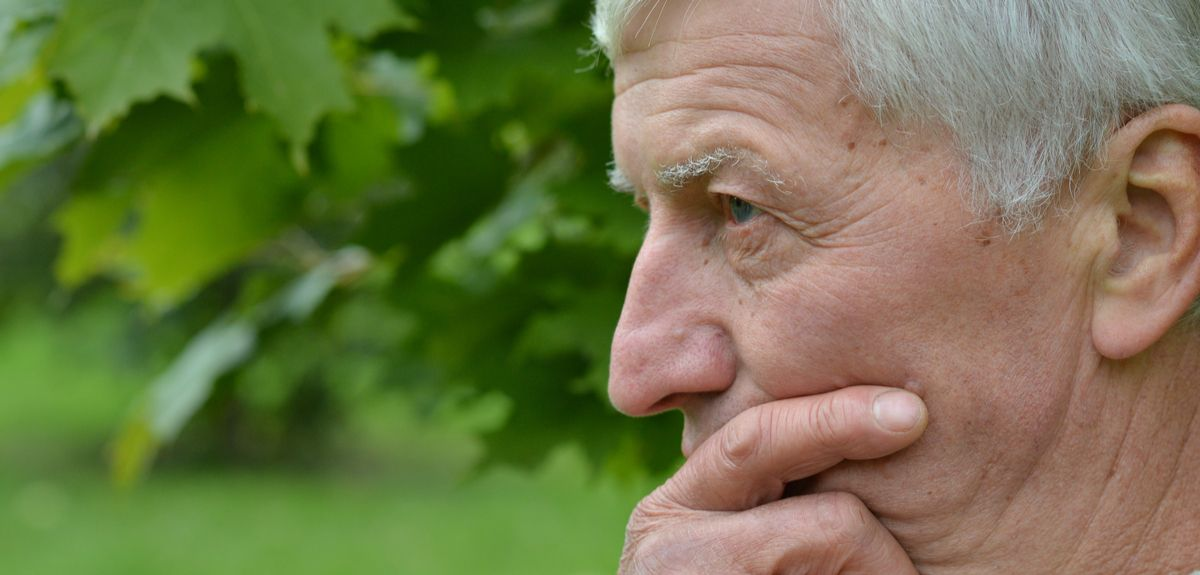 Senior man looking into distance in front of foliage