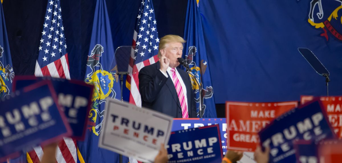 Donald J. Trump speaks at a campaign political rally.