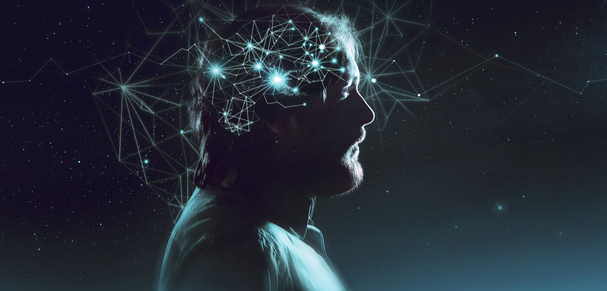 A man with synapses connecting around his head