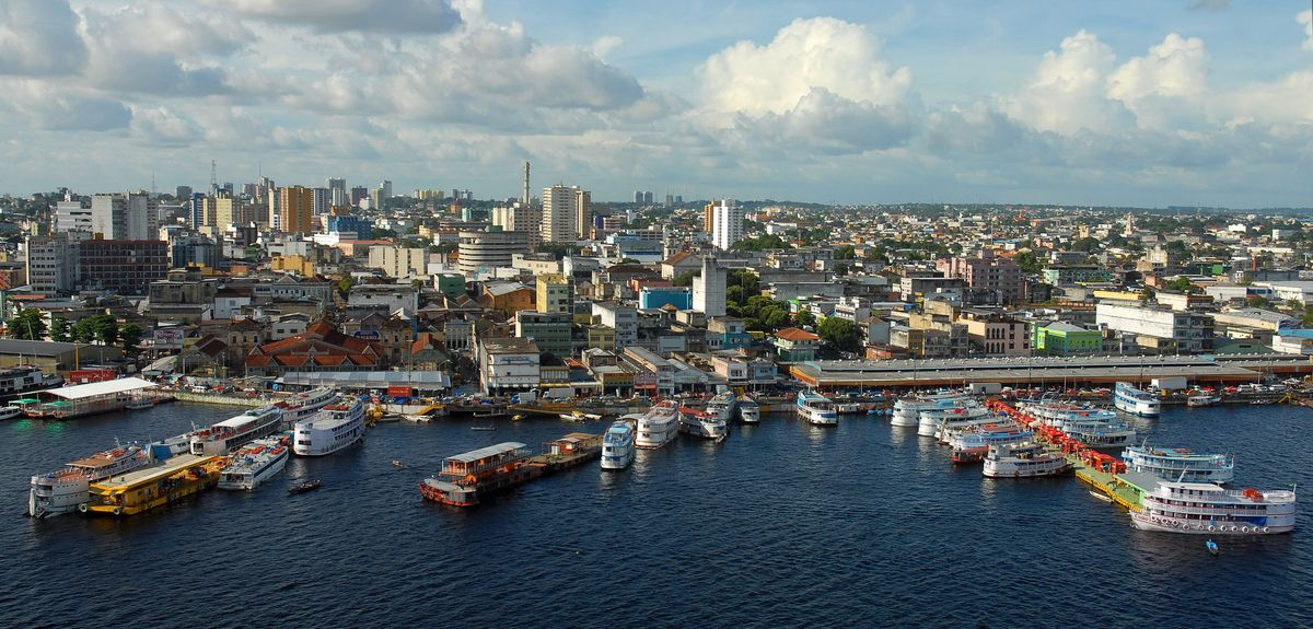 Aerial view of the regional craft port of the city of Manaus, capital of Amazonas, Brazil