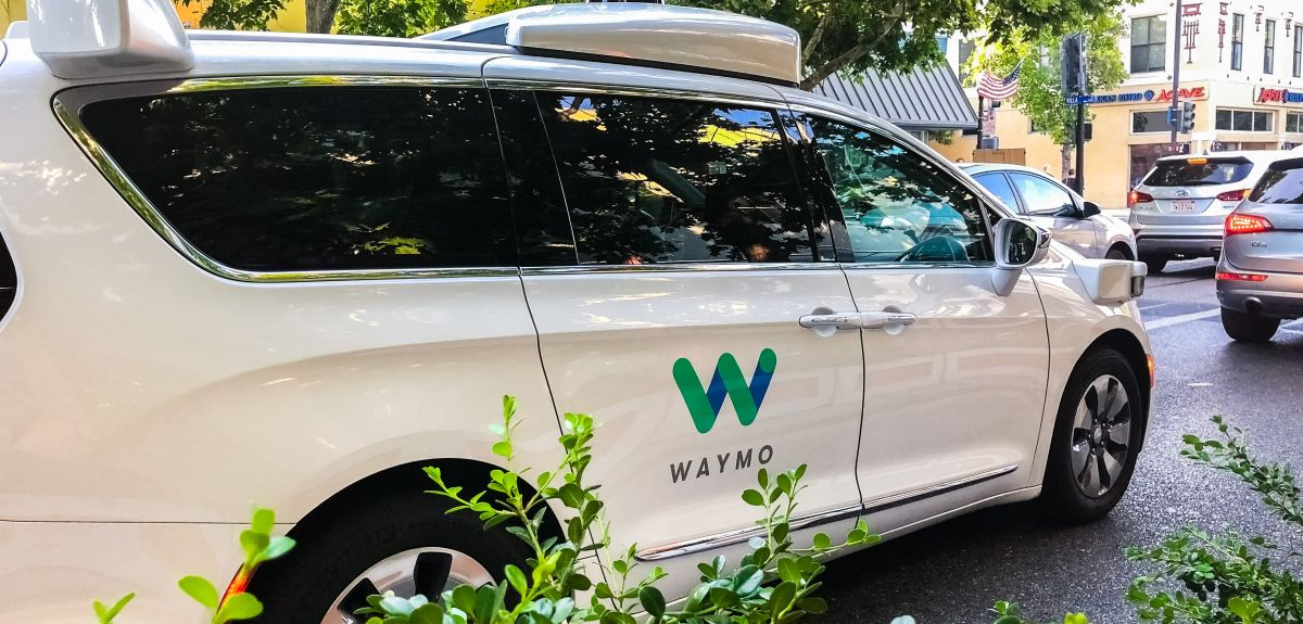 Waymo self driving car in south San Francisco bay area