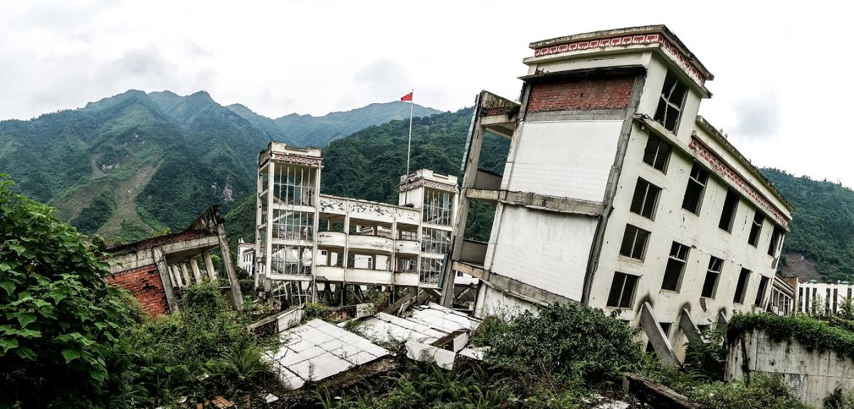 Sichuan Earthquake Memorial Buildings after the Greate earthquak, 2008 Sichuan Earthquake Memorial Site in China