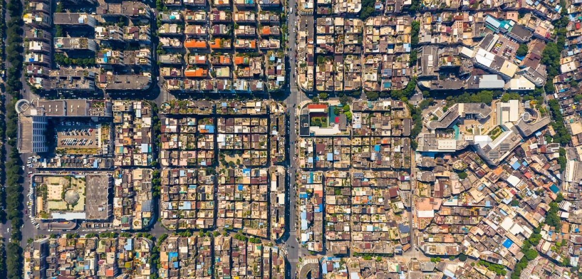 Aerial view of residential area in Guangdong Province