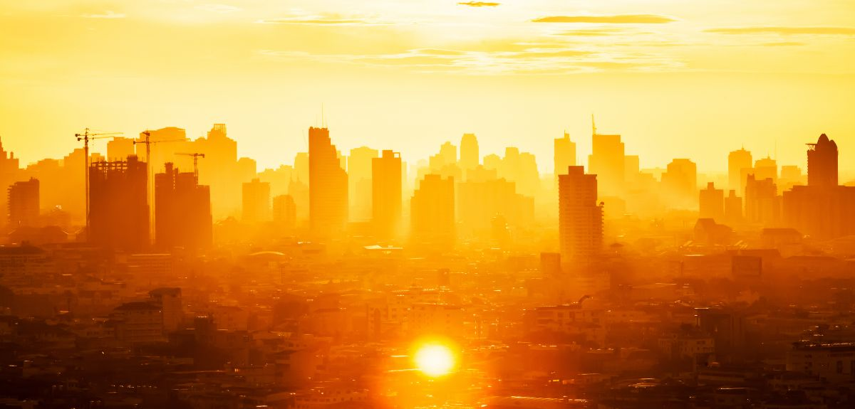 Cityscape in hot sun