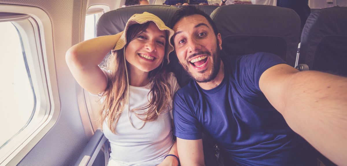 Selfie on an aeroplane