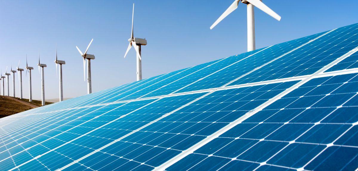 Wind farm and solar panels
