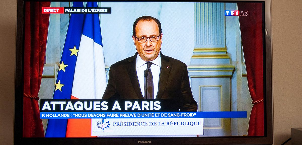 Francois Hollande speaks on TV about 2015 french terror attacks