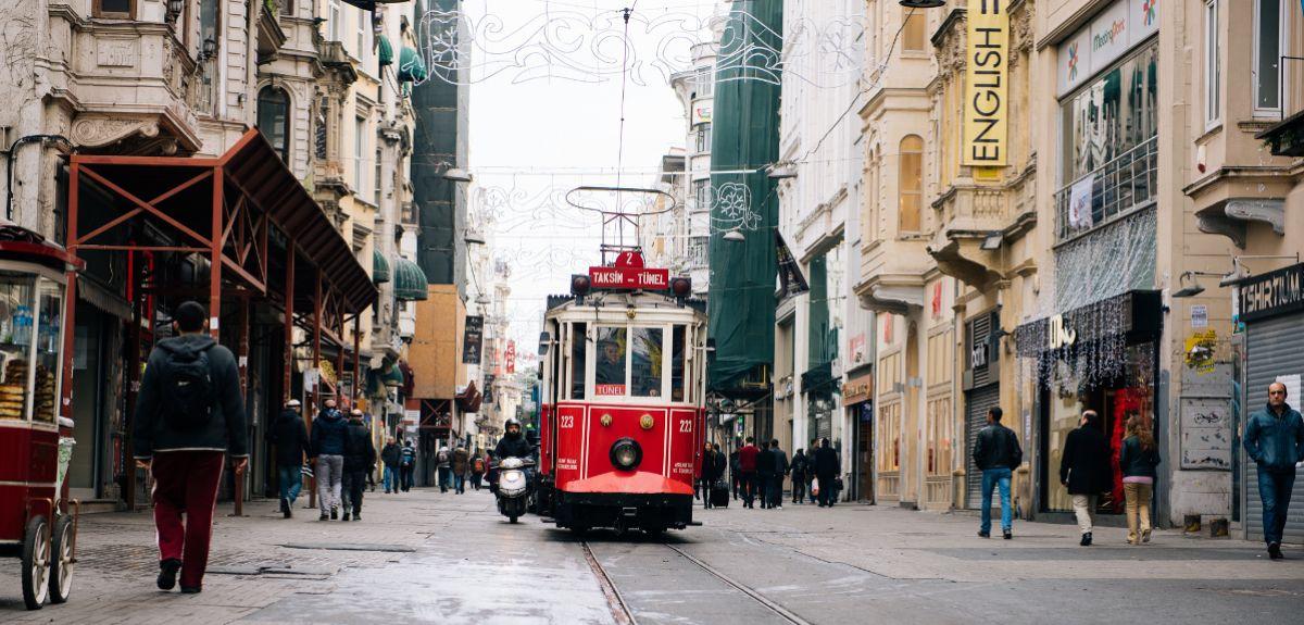 A trolley/ tram
