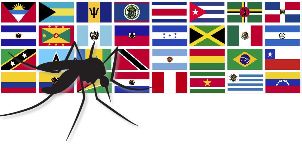 Mosquito over the flags of South America and the Caribbean