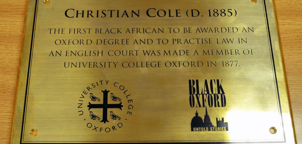 The plaque celebrating Christian Cole