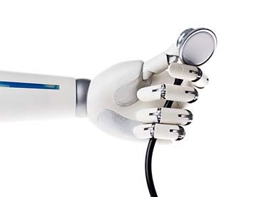 Robot holding a stethoscope