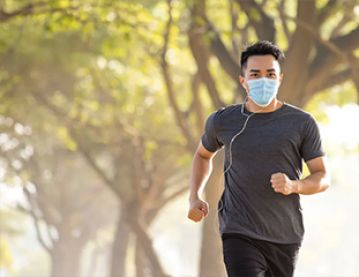 Runner wearing face mask