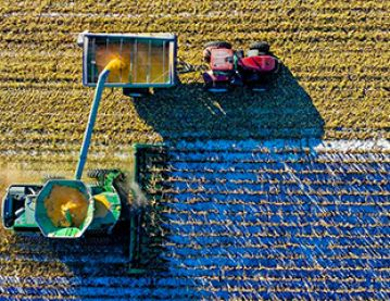 harvesting a field aerial view