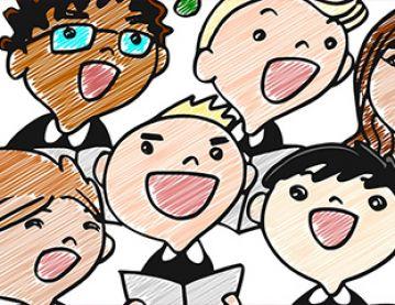 drawing of children singing