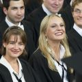 Graduands listening to the Vice-Chancellor's speech on Degree Day, Oxford, UK.