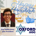 """Image of Guy Dabby-Joory with text that reads """"Happy Hanukkah"""" and the Oxford Jewish Society logo"""