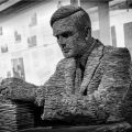Slate statue of Alan Turing in Bletchley