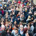 People in a busy London street.