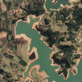 The Jaguari Reservoir in Brazil. The left side image shows the area on August 3, 2014; the right side image shows the same area on August 16, 2013, before the recent drought began. Credit: NASA.