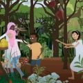 Still from animation of children running in a tropical forest